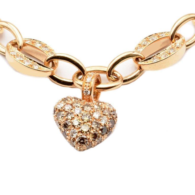 Women's White and Champagne Diamonds Heart Charm Bracelet Rose Gold Made in Italy For Sale