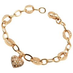 White and Champagne Diamonds Heart Charm Bracelet Rose Gold Made in Italy