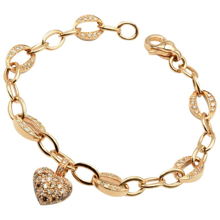 White and Champagne Diamonds Heart Charm Bracelet Rose Gold Made in Italy For Sale