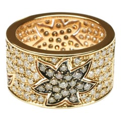 White and Champagne Diamonds Moon and Sun Gold Band Ring Italy