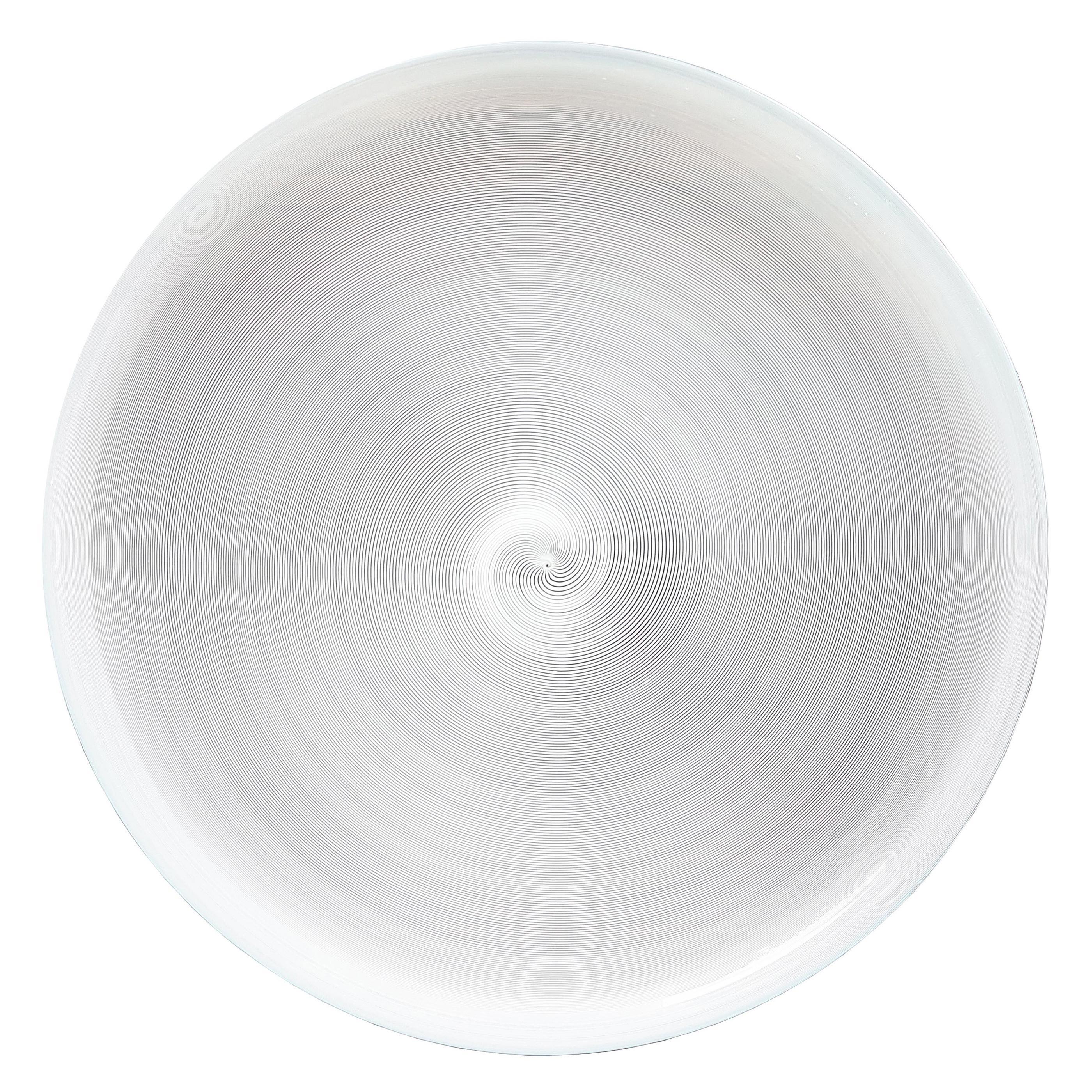 """White and Clear """"mezza filigrana"""" Murano Glass Plate Attributed to Venini, 1990s"""