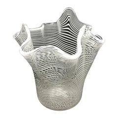 White and Clear Swirl Glass Miniature Murano Venetian Glass Vase by Fazzoletto