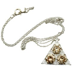 White and Cognac Diamond Platinum Pendant on 18 Karat White Gold Necklace