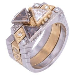 White and Cognac Triangle Diamond Stacking Rings