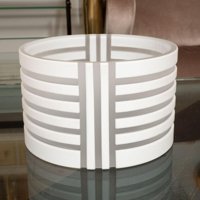 White and frosted glass linear design bowl by Fendi. Signed.