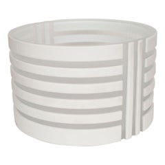 White and Frosted Glass Linear Design Bowl