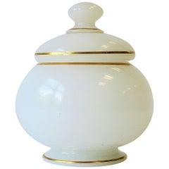 White and Gold Art Glass Vanity Bottle