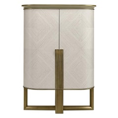 White and Gold Bar Cabinet