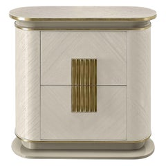 White and Gold Bedside Table