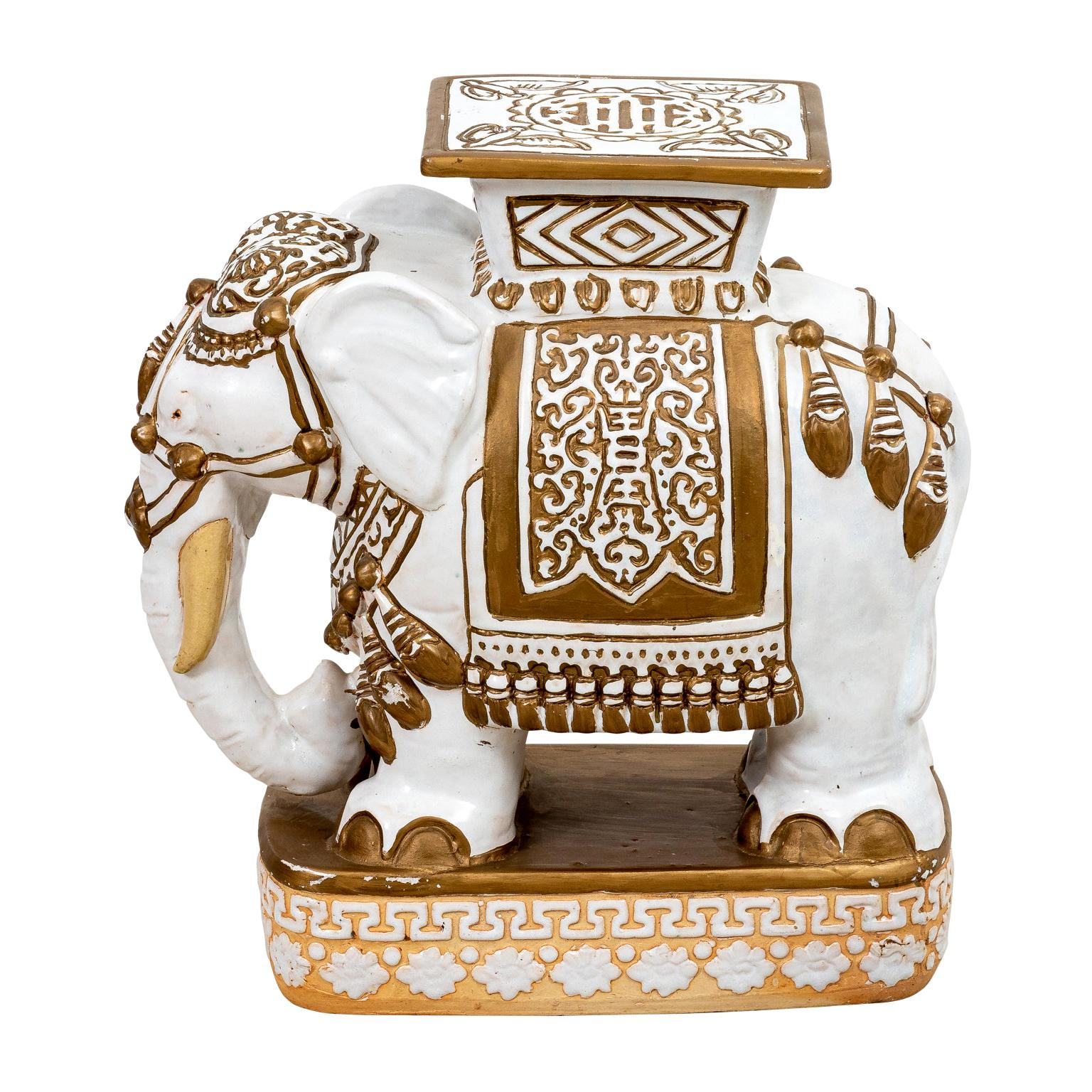 White and Gold Ceramic Elephant Garden Seat