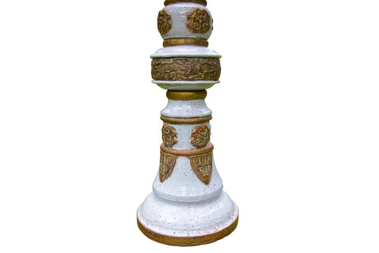 20th Century White and Gold French Ceramic Table Lamp, circa 1960 For Sale