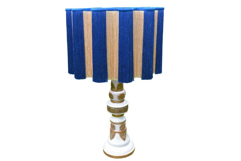 White and Gold French Ceramic Table Lamp, circa 1960 For Sale 2