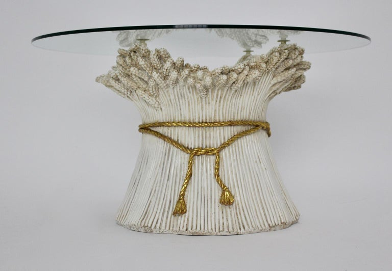 White and Gold Hollywood Regency Sheaf of Wheat Coffee Table, 1970s, Italy For Sale 8
