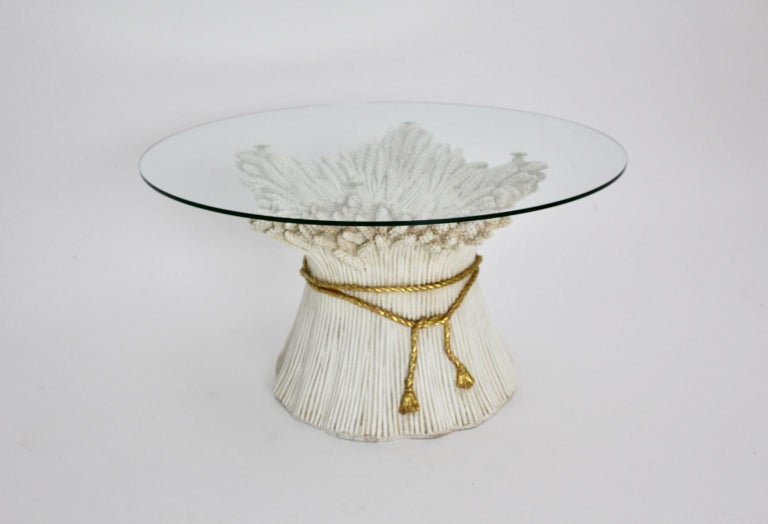 White and Gold Hollywood Regency Sheaf of Wheat Coffee Table, 1970s, Italy For Sale 9