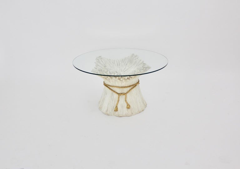 Late 20th Century White and Gold Hollywood Regency Sheaf of Wheat Coffee Table, 1970s, Italy For Sale