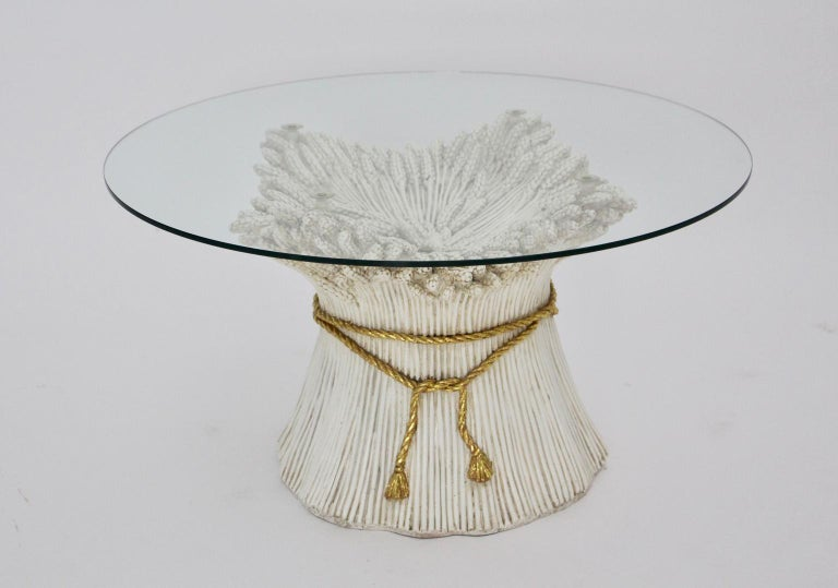 Ceramic White and Gold Hollywood Regency Sheaf of Wheat Coffee Table, 1970s, Italy For Sale