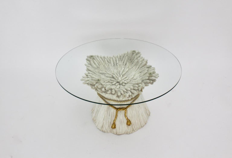 White and Gold Hollywood Regency Sheaf of Wheat Coffee Table, 1970s, Italy For Sale 1