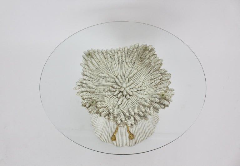White and Gold Hollywood Regency Sheaf of Wheat Coffee Table, 1970s, Italy For Sale 2