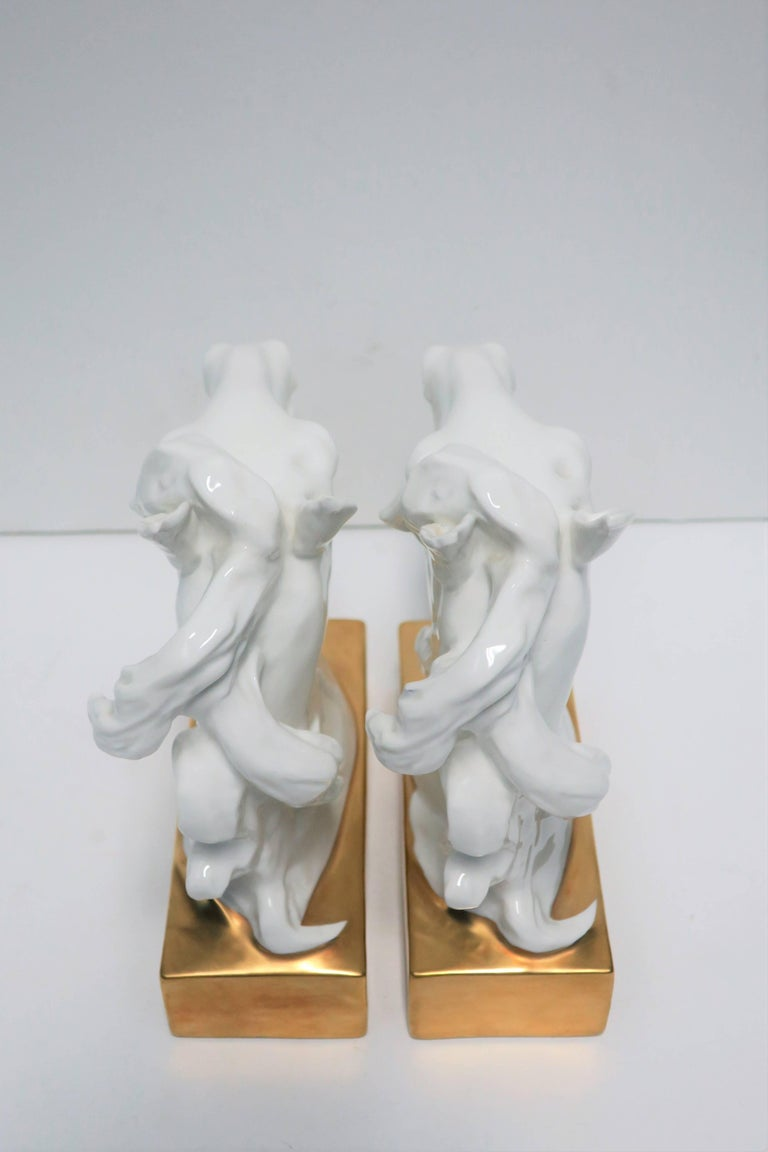 White and Gold Horse Bookends or Decorative Object Sculptures For Sale 4