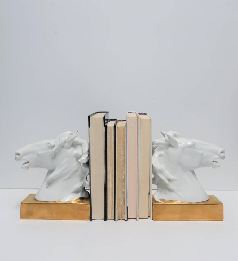 Portuguese White and Gold Horse Bookends or Decorative Object Sculptures For Sale