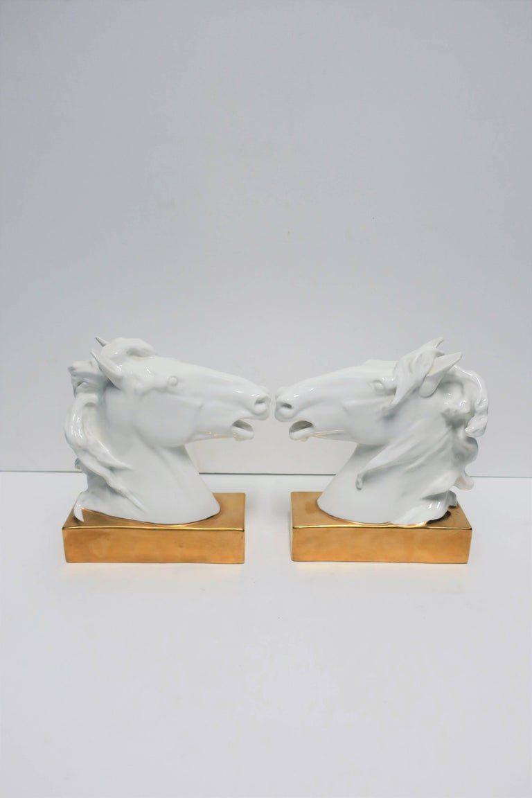 Contemporary White and Gold Horse Bookends or Decorative Object Sculptures For Sale