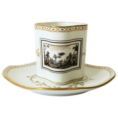 White and Gold Italian Espresso Cup and Saucer by Richard Ginori