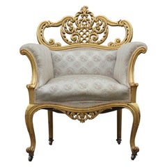 White and Gold Leaf Regal Hollywood Regency Boudoir Chair