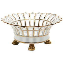 French White and Gold Pierced Porcelain Compote Basket Centerpiece Bowl