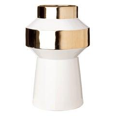 White and Gold Porcelain Glazed Vase