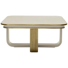 White and Gold Square Coffee Table