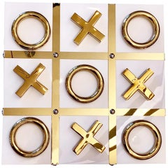White and Gold Tic Tac Toe Set