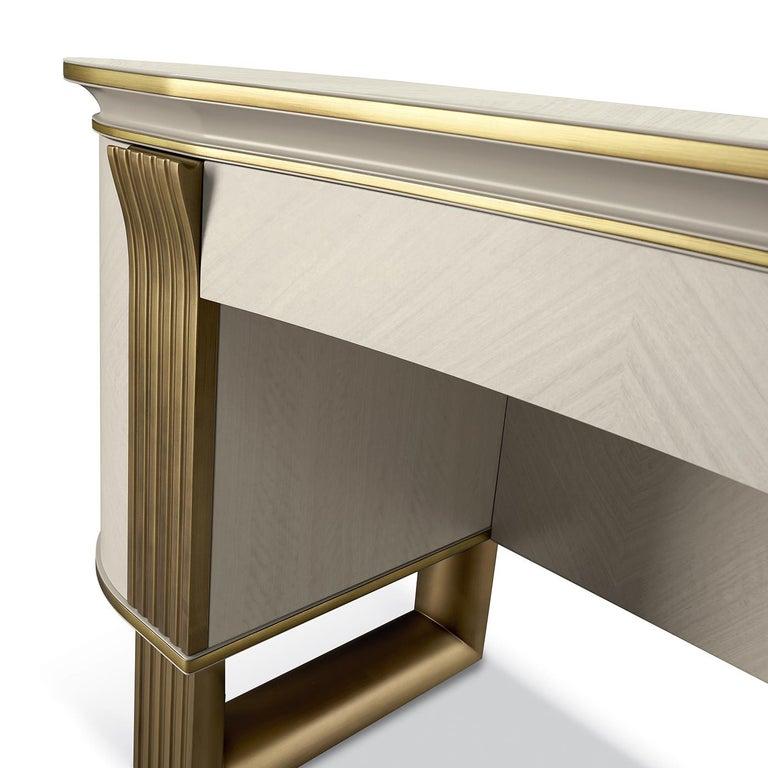 Italian White and Gold Vanity Desk For Sale