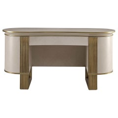 White and Gold Vanity Desk