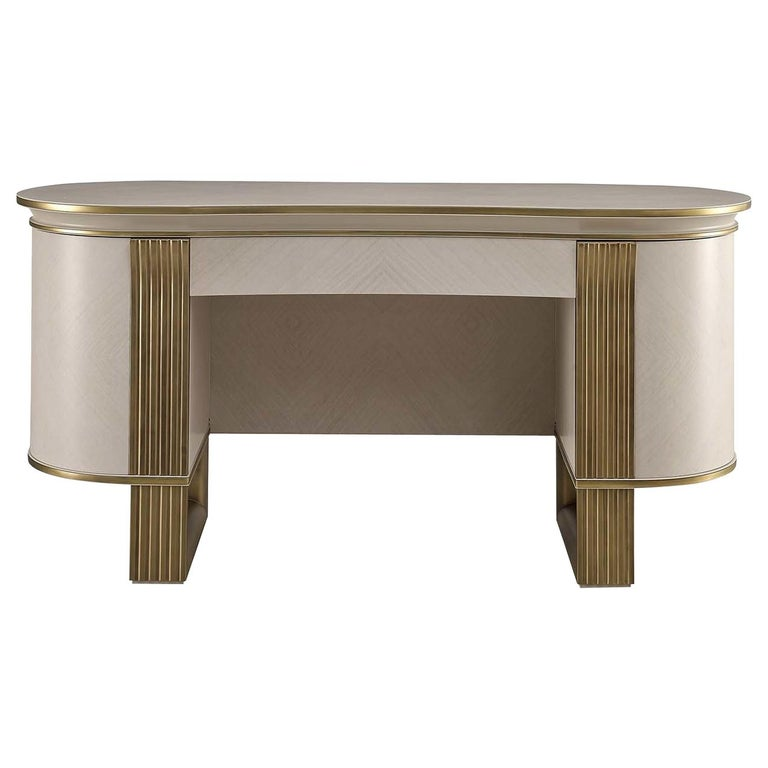 White and Gold Vanity Desk For Sale