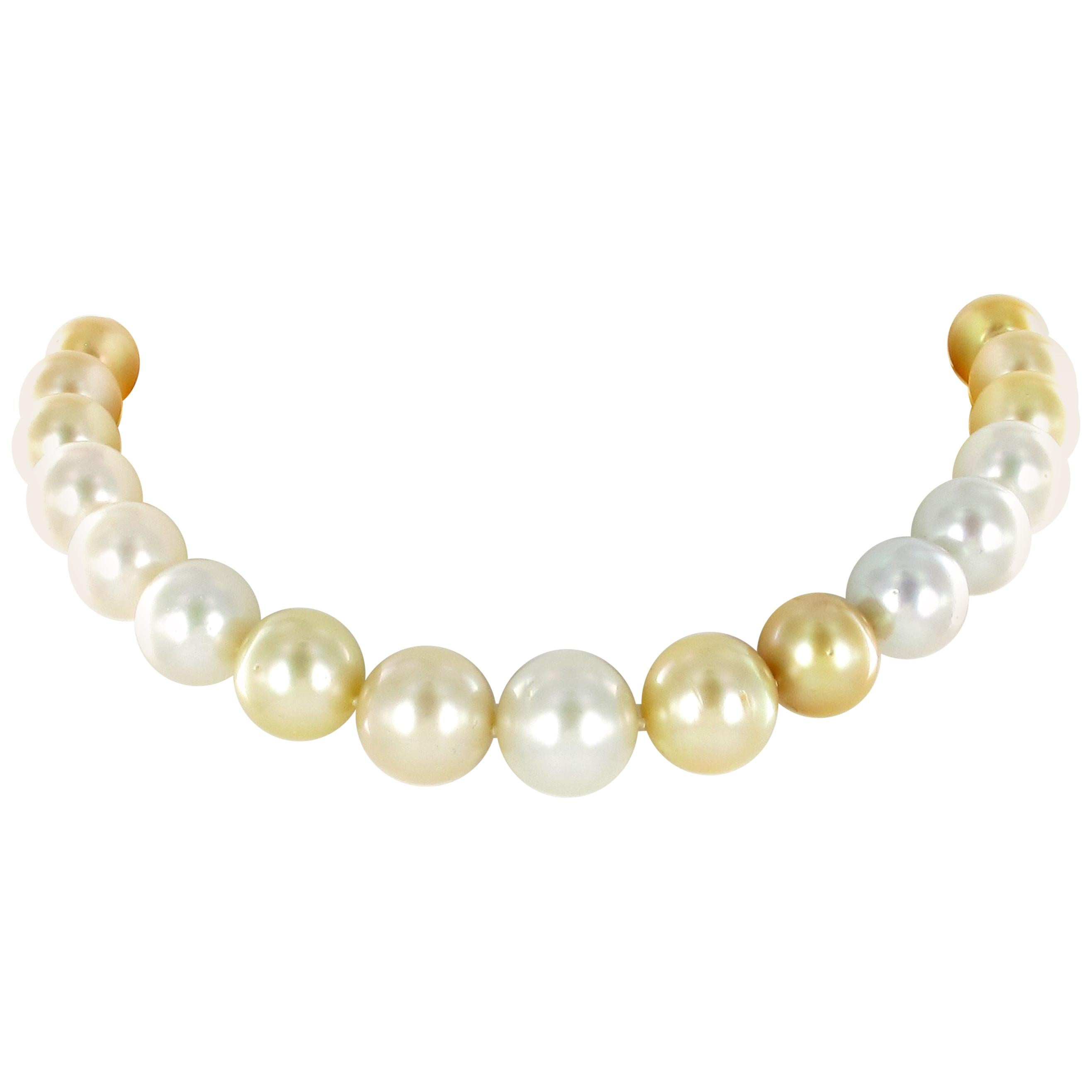 White and Golden South Sea Cultured Pearl Necklace