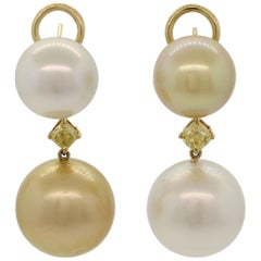 White and Golden South Sea Pearl Diamond Gold Drop Earrings