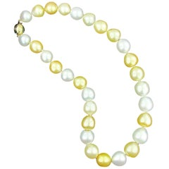 White and Golden South Sea Pearl Necklace with 14 KT Yellow Gold & Diamond Clasp