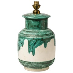 White and Green 20th Century Ceramic Table Lamp by Dupanier French Lighting 1960