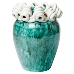 White and Green Art Deco Ceramic Vase by Gustave Asch 1930 Midcentury Design