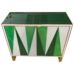 White and Green Opaline Glass Cabinet with Geometric Design, 1980s