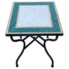 White and Green Square Moroccan Mosaic Table - Resin