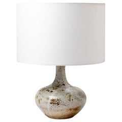 White and Grey Ceramic Table Lamp by Vezelay, 20th Mid-Century