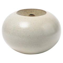 White and Grey Stoneware Ceramic Decorative Vase by Claude Champy, circa 1980