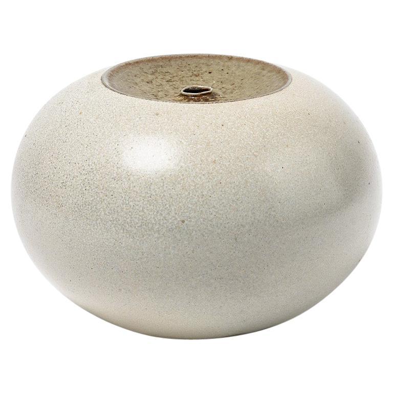 White and Grey Stoneware Ceramic Decorative Vase by Claude Champy, circa 1980 For Sale