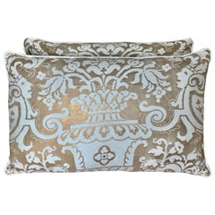 White and Metallic Gold Carnevalet Patterned Fortuny Pillows, Pair