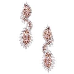 White and Multi Shape Pink Diamond Drop Earrings
