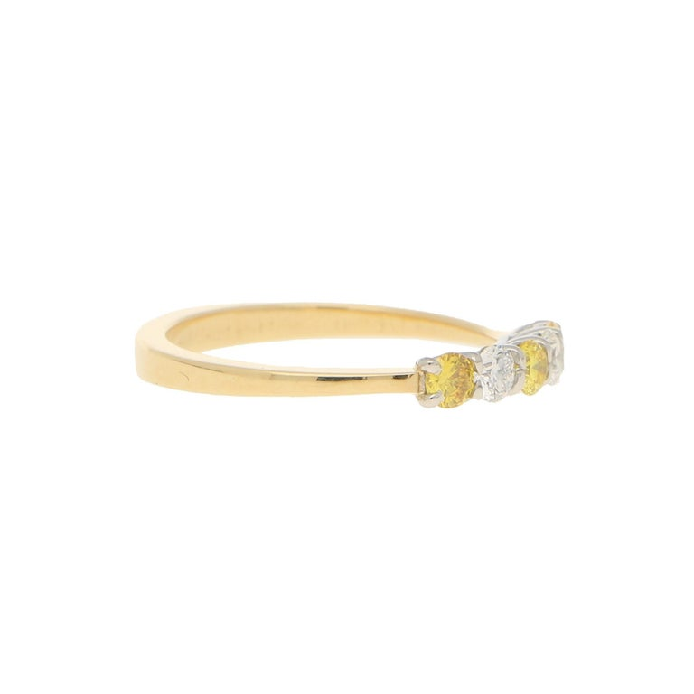 Round Cut White and Natural Yellow Diamond Half Eternity Ring Set in 18 Karat Yellow Gold For Sale