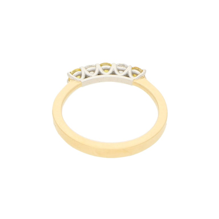 Women's or Men's White and Natural Yellow Diamond Half Eternity Ring Set in 18 Karat Yellow Gold For Sale