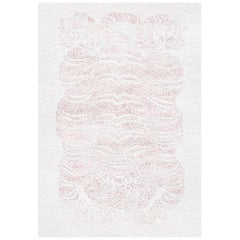 White and Pink Handmade Wool and Silk Rug from Tiger Collection by Gordian