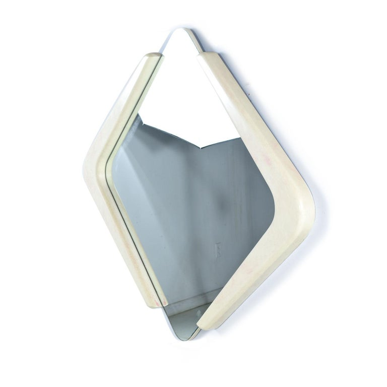 Mid-Century Modern White and Pink Lacquer Diamond Shape Memphis Style Modern Mirror For Sale